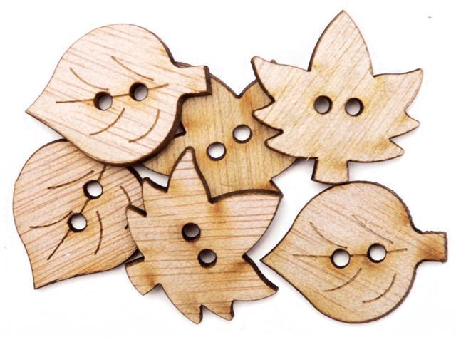 Favorite Findings Wood Buttons-Simple Leaves 6/Pkg