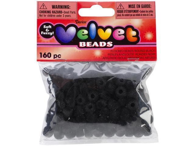 Flocked Pony Beads 6mmx9mm 160/Pkg-Black