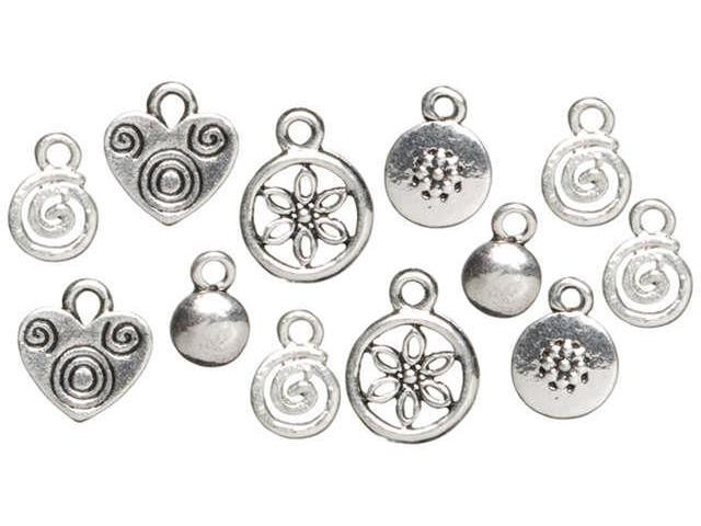 Trinkettes Metal Silver Charms-Hearts & Swirls 12/Pkg