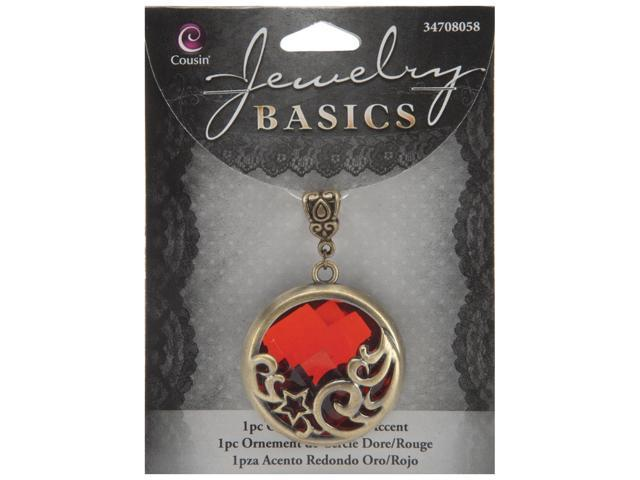 Jewelry Basics Metal Accent 1/Pkg-Red & Gold Round