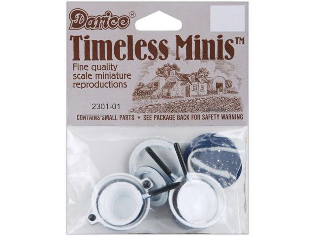 Timeless Miniatures-Blue Pots & Lids 4/Pkg