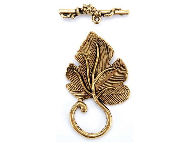 Blue Moon Plated Metal Toggle Clasps-Detailed Leaf Gold 5/Pkg