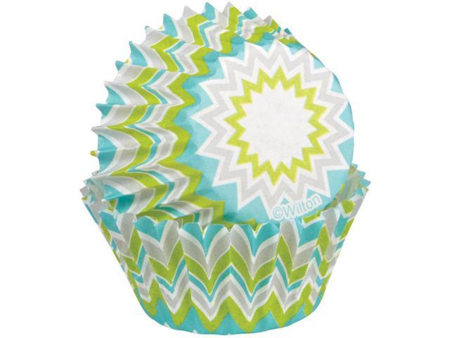 Baking Cups-Lime Chevron 100/Pkg-Mini