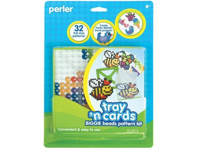 Perler Tray 'n Cards Pattern Kit-BIGGIE Beads