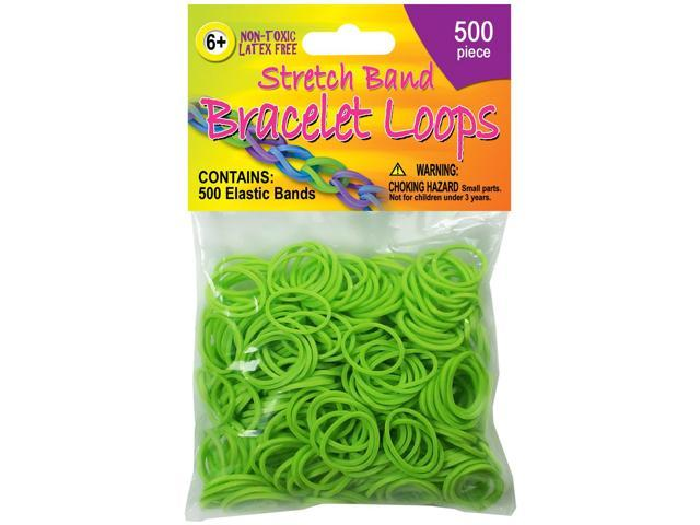 Stretch Band Bracelet Loops 500/Pkg-Neon Green