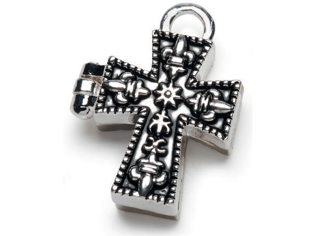 Prayer Box Metal Charm 1/Pkg-Antique Silver Cross