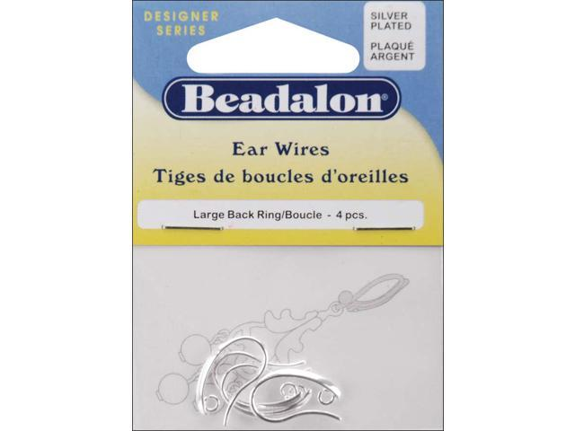 Back Loop Ear Wires Large 4/Pkg-Silver-Plated