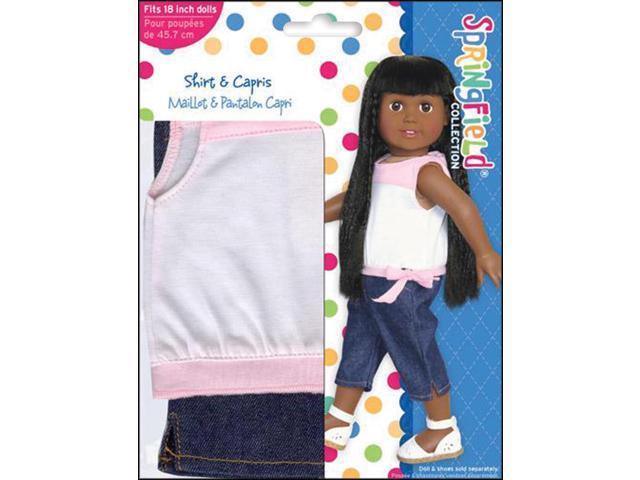 Springfield Collection Shirt & Capris-Pink, White & Denim