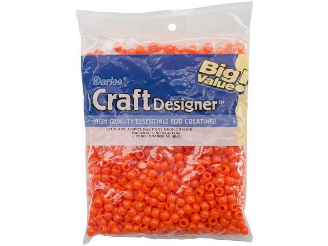 Pony Beads 6mmX9mm 720/Pkg-Opaque Neon Orange