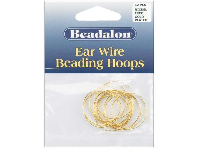 Ear Wire Beading Hoops Medium 25mm 12/Pkg-Gold-Plated & Nickel-Free