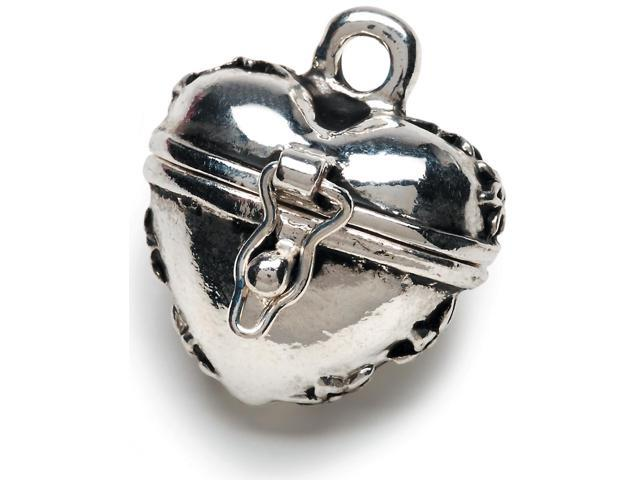 Prayer Box Metal Charm 1/Pkg-Antique Silver Puffy Heart
