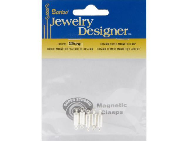Magnetic Clasps 3mmX14mm 5/Pkg-Silver