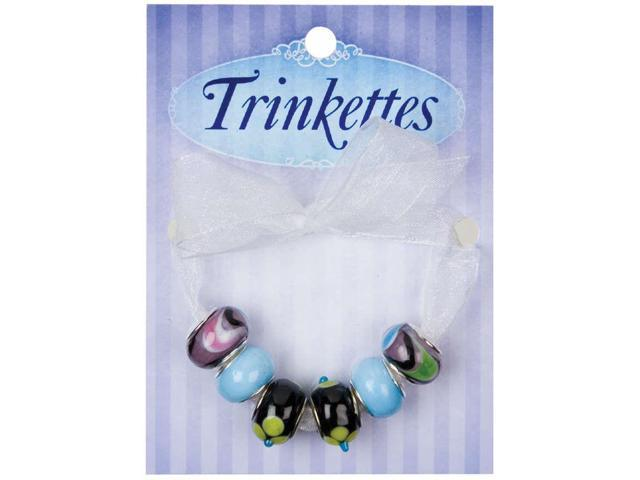 Trinkettes Glass, Metal & Clay Beads 6/Pkg-Black & Yellow Flowers