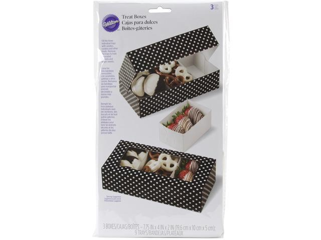 Candy Melts Divided Treat Boxes-Black W/White Dots 12.5