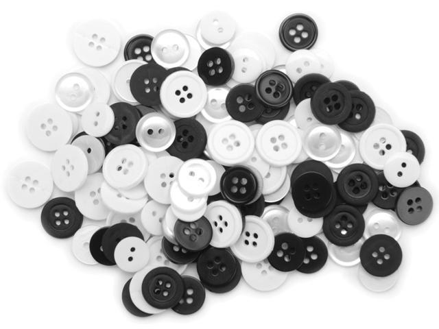 Favorite Findings Buttons 130/Pkg-Black & White