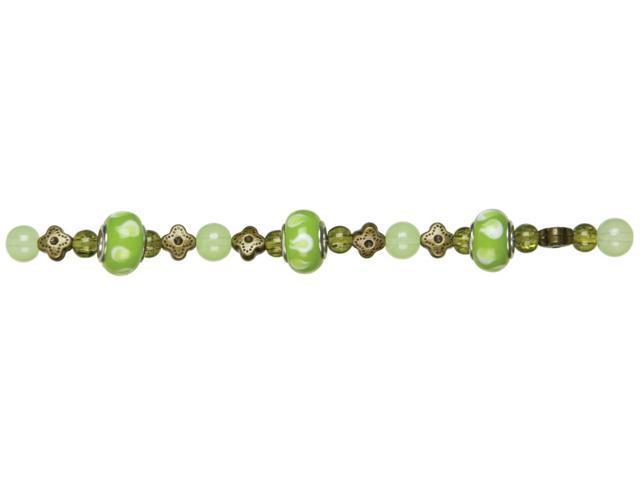 Jewelry Basics Glass Bead Mix 27/Pkg-Green Large Hole