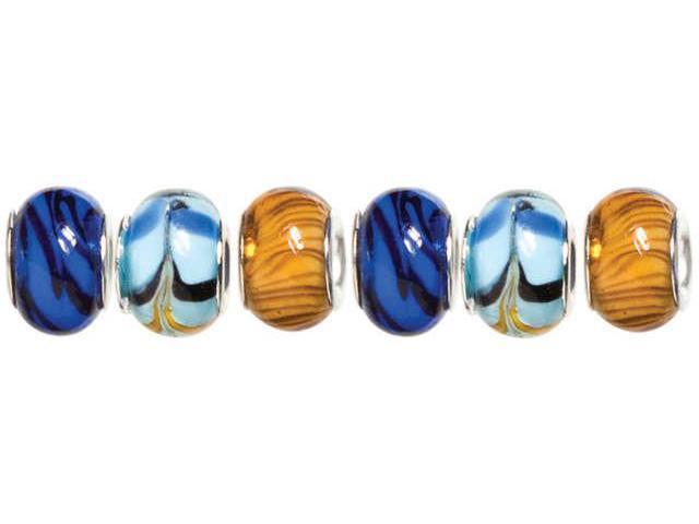 Trinkettes Glass, Metal & Clay Beads 6/Pkg-Blue & Black Swirl