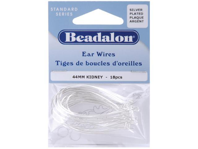 Kidney Ear Wires 44mm 18/Pkg-Silver-Plated