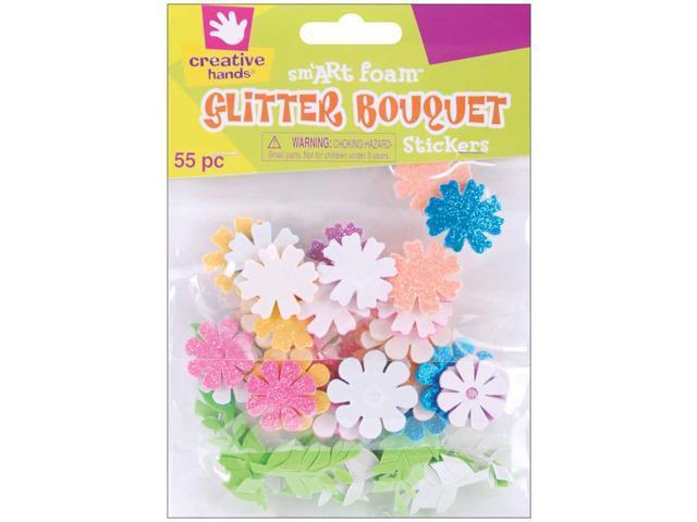 Foam Glitter Stickers 55/Pkg-Bouquet