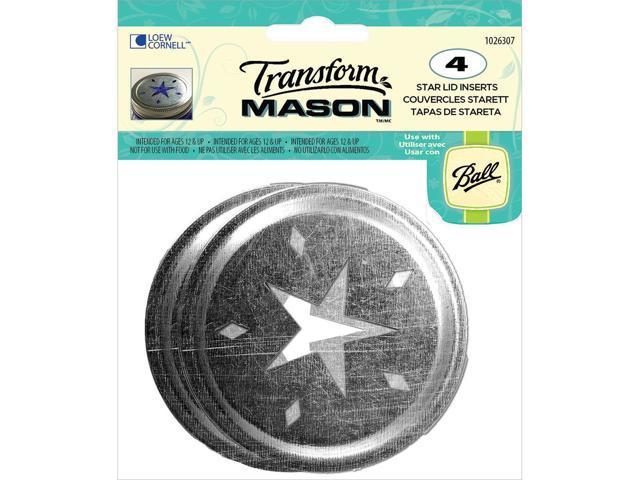 Transform Mason Lid Inserts 4/Pkg-Silver Star