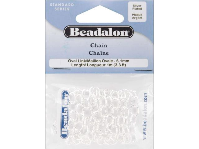 Oval Link Chain 6.1mmx3.28'-Silver-Plated