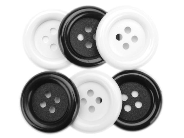 Favorite Findings Big Buttons 6/Pkg-Black & White