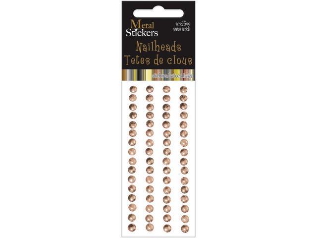 Metal Stickers Nailheads 5mm Round 64/Pkg-Brass
