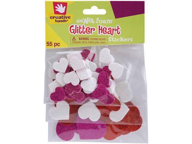 Foam Glitter Stickers 55/Pkg-Hearts
