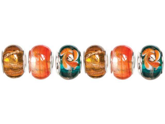 Trinkettes Glass, Metal & Clay Beads 6/Pkg-Orange & Teal Swirl