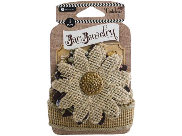 Embellished Burlap Flower W/Tie-Natural