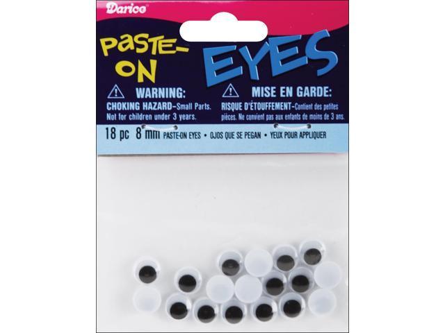 Paste-On Wiggle Eyes 8mm 18/Pkg-Black