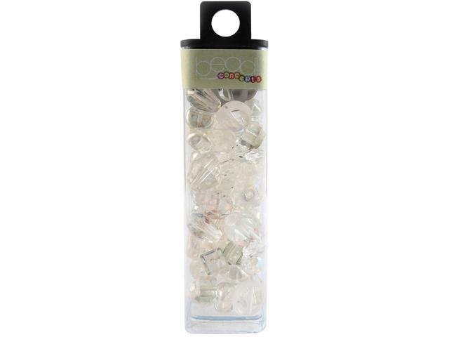 Square Tube Glass Beads 2oz-Crystal AB Mix