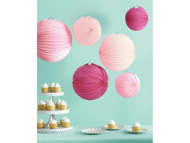 Accordion Paper Lanterns Makes 6-Pink