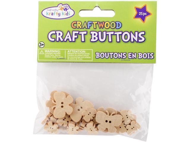 Craftwood Shaped Buttons 13mm To 27mm 25/Pkg-Butterflies