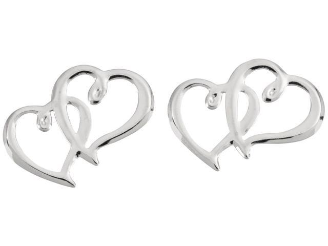 Sweetheart Charms 12/Pkg-Silver Double Hearts