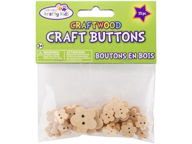 Craftwood Shaped Buttons 13mm To 27mm 25/Pkg-Flowers