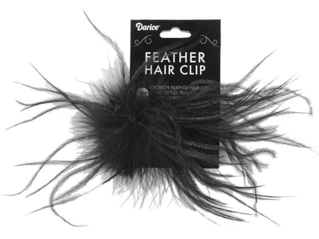 Ostrich Feather Hair Clip-Black