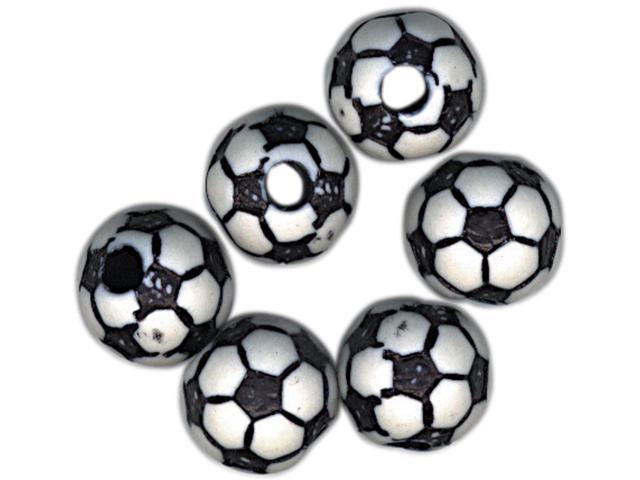 Team Sports Beads 12mm-Soccer Ball 12/Pkg