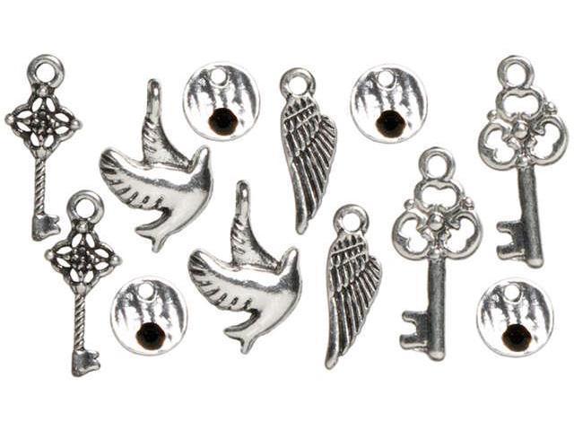 Trinkettes Metal Silver Charms-Wings & Keys 12/Pkg
