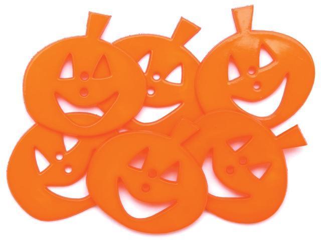 Favorite Findings Holiday Buttons-Smiling Pumpkins 6/Pkg