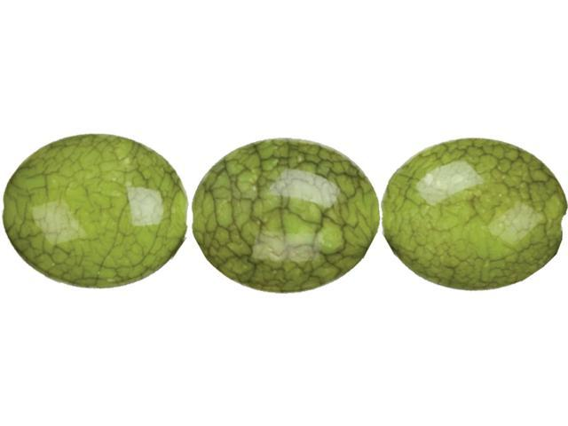 Jewelry Basics Acrylic Beads-Green Crackle Oval 9/Pkg