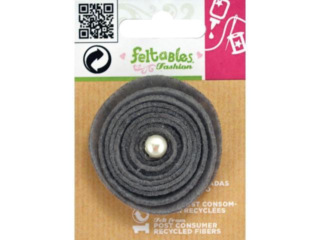 Feltables Micro Layered Embellishments 1/Pkg-Grey Quilled Flower