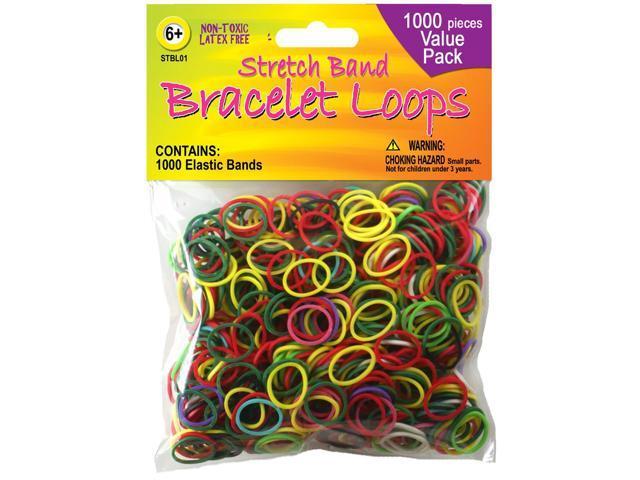 Stretch Band Bracelet Loops 1,000/Pkg-Assorted Colors