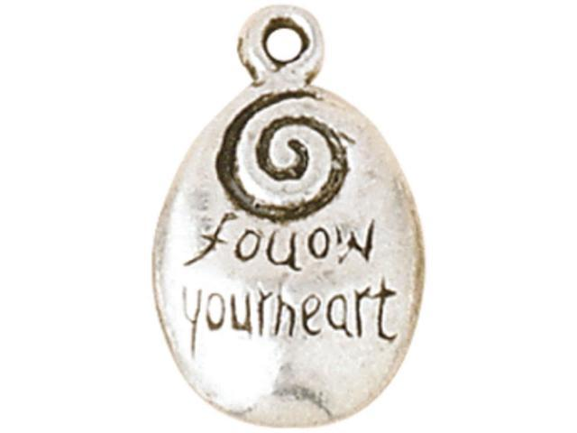 Blue Moon Silver-Plated Metal Charms-Follow Your Heart 5/Pkg