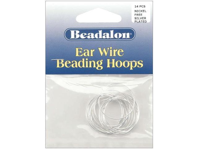 Ear Wire Beading Hoops Medium 25mm 14/Pkg-Silver-Plated & Nickel-Free