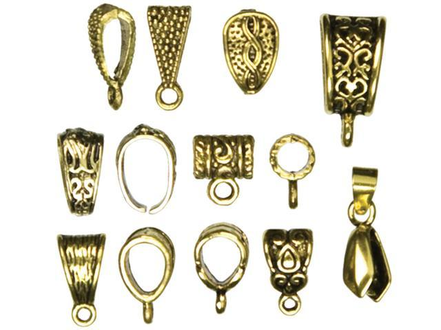 Jewelry Basics Metal Findings 13/Pkg-Gold Mixed Bail Pack