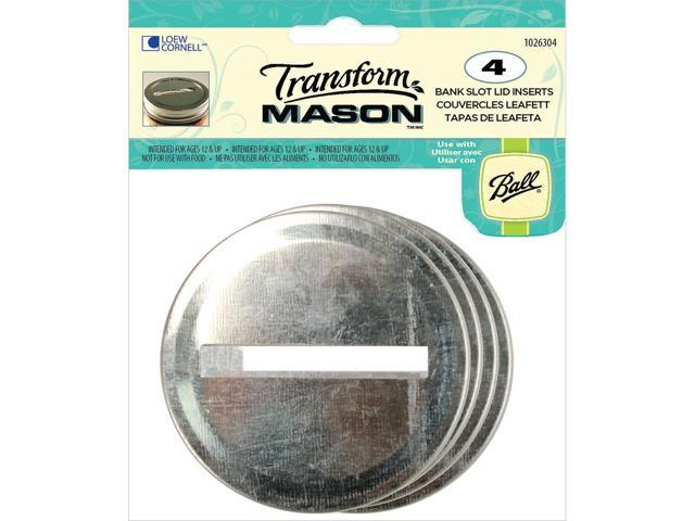 Transform Mason Lid Inserts 4/Pkg-Silver Stotted