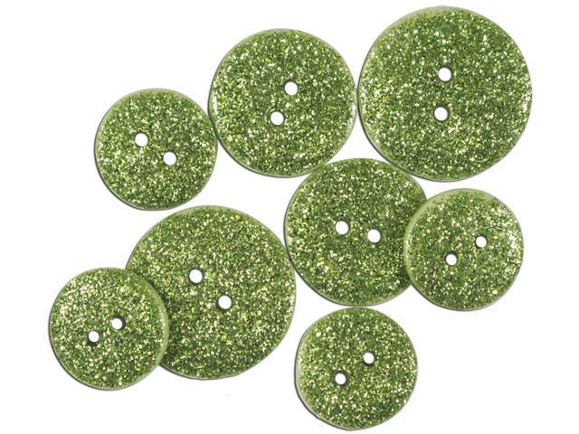 Favorite Findings Glitter Buttons-Citron Opaque 7/Pkg