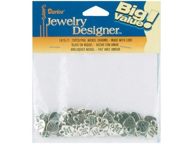 Metal Charms 50/Pkg-Silver Made With Love