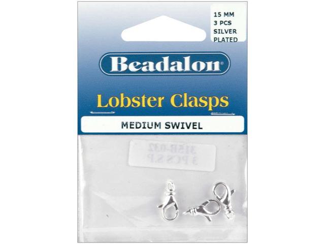 Lobster Swivel Clasps 15mm 13/Pkg-Silver-Plated